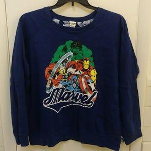 Marvel blue reversible sweater 3x